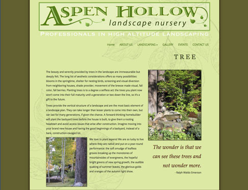 Aspen Hollow Landscape Nursery website image